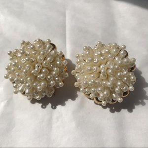 Vintage Ann Klein Pearl Bunch Earrings